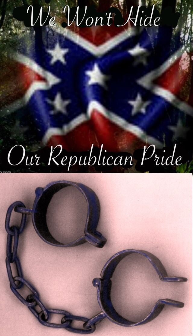 Lets remember why republicans take pride. By 1860 there were 4 million slaves in the United States, and 400,000 of them -- 10 percent -- lived in South Carolina. African-Americans, enslaved and free, made up 57 percent of the state's population. Charleston was the nation's capital of the slave trade, the place where many of those enslaved people first landed in the New World.