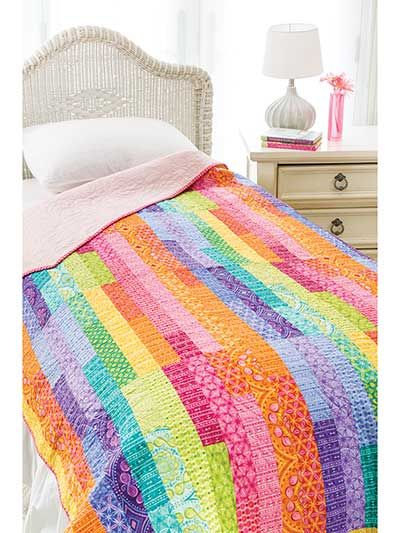 This jelly roll-friendly pattern offers three variations and endless possibilities. Spring is the perfect time to try some bold prints and bright colors. The quilt you see is made from three of the Transformation Jelly Rolls. Finished size: 64 1/2&qu...