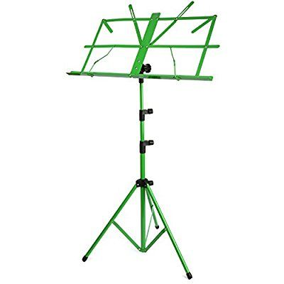 H&S® Colourful Metal Folding Sheet Music Stand Holder Tripod Base Foldable + Carry Case (Green)