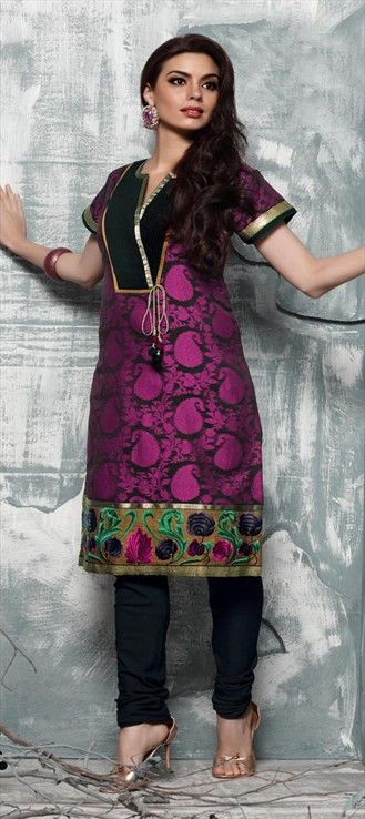 97447: Black and Grey, Pink and Majenta color family stitched Cotton Salwar Kameez.