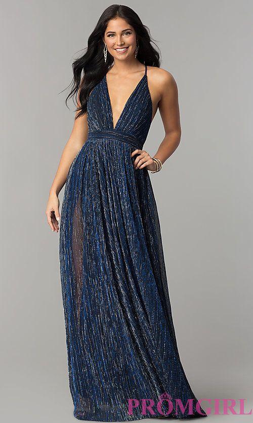 a3e7e1b31fc Image of long metallic crepe v-neck prom dress. Style  LUX-LD4206 Front  Image