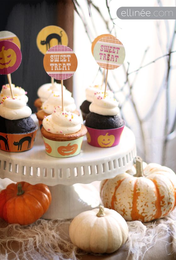 Retro Halloween Cupcake Flags [create] | ballarddesigns.com