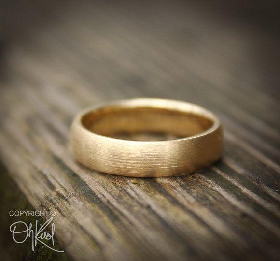 Gold Wedding Band Ring for Men - Brushed Gold - 10K Gold, Engagements
