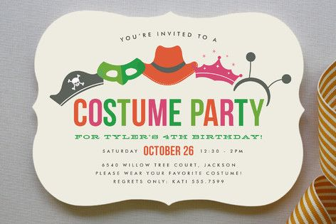 Costume Party Children's Birthday Party Invitations by Jill Means at minted.com