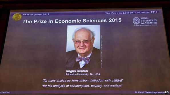 "Economics: The Nobel prize goes to Angus Deaton | The Economist Angus Deaton has won the 2015 Nobel prize for Economics ""for his analysis of consumption, poverty, and welfare"""