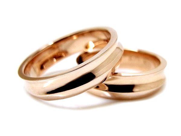 AMBRACE K18 pink gold ring stylish reverse round 5mm ピンクゴールド ペアリング スタイリッシュ リバースラウンド