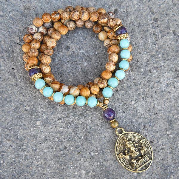 Nurture and calm, 108 bead  jasper, amethyst and amazonite gemstone  mala wrap bracelet or necklace with Ganesh pendant