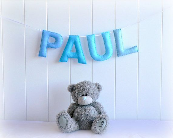 Personalized felt name banner  custom made wall by LullabyMobiles, $62.00  Perfect!