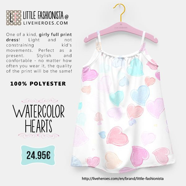 #watercolor #aquarela #painted #hearts #grunge #love #cute #stylish #girly #girldress #dress #lovable #liveheroes #liveheroesshop #littlefashionista