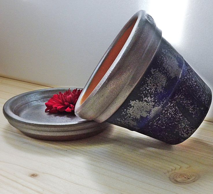 Clay Pots Gifts, Hand Painted Clay Pots, Painted Terracotta, Clay Candle Holder, Terracotta Planter, Clay Flower Holder, Silver Blue Holders by PaCoShaBe on Etsy