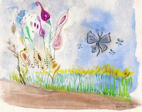Spring Flowers   Original Watercolor Art   little by viadeitigli