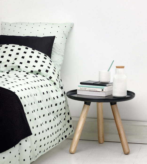 Tablo table and Cube bed linen - Normann Copenhagen