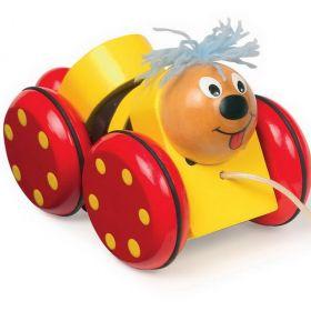 """Drevená pestrofarebná hračka """"Willy"""" na kolieskach so šnúrkou."""