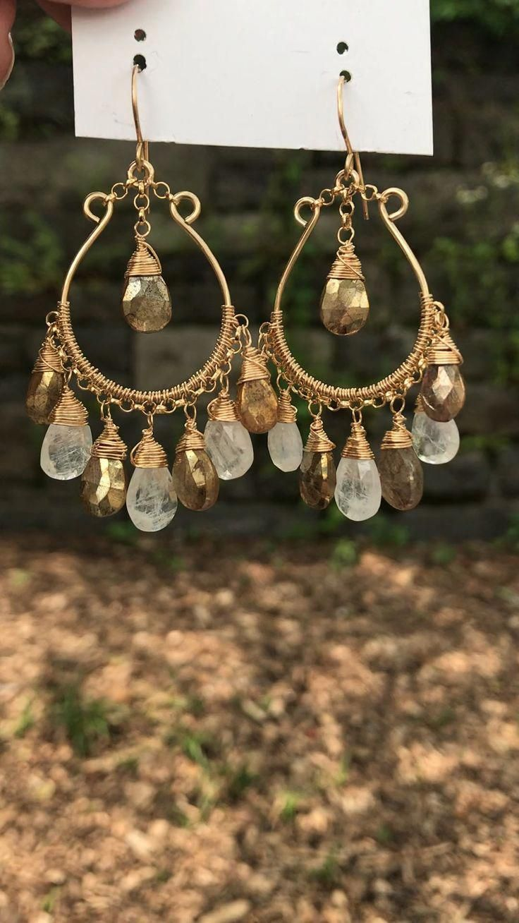 Champagne quartz Oxidized sterling silver chandelier cluster earrings black Tourmaline Pyrite Smoky quartz