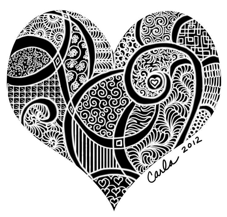 675 best images about art zentangle heart on pinterest - Doodle dessin ...