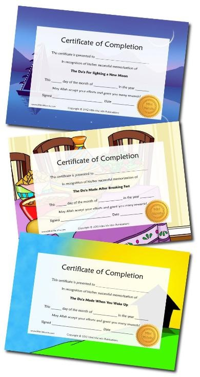 Islamic Certificates. Mini Mu'min Publications. FREE Downloads.