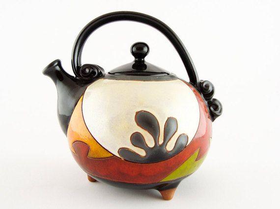 Colorful ceramic teapot pottery teapots ceramics and by Avanturine