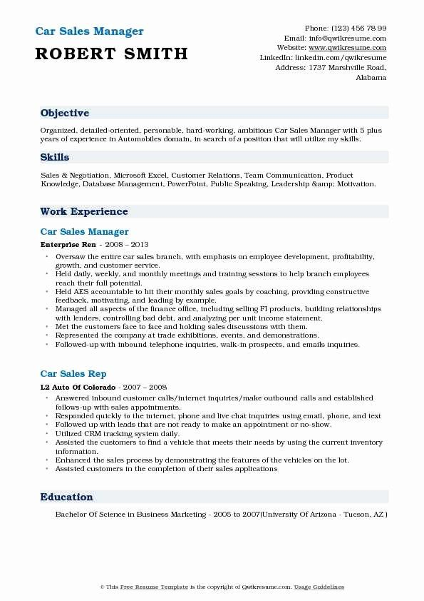 Automobile Sales Manager Resume Best Of Car Sales Representative Resume Samples Sales Resume Sales Resume Examples Job Resume Samples