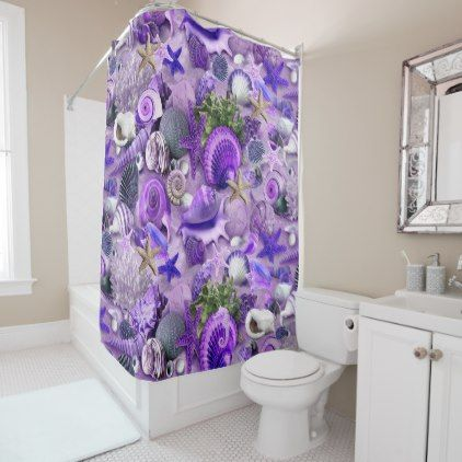 Fancy Purple Seashells Shower Curtain - fancy gifts cool gift ideas unique special diy customize