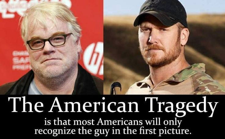 Real American Chris Kyle deserves more recognition than Phillip Heroin Hoffman.