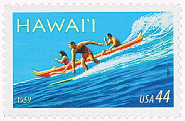 #4415 - 2009 - 44c                Hawaii Statehood, blue, red, yellow, state, landscape