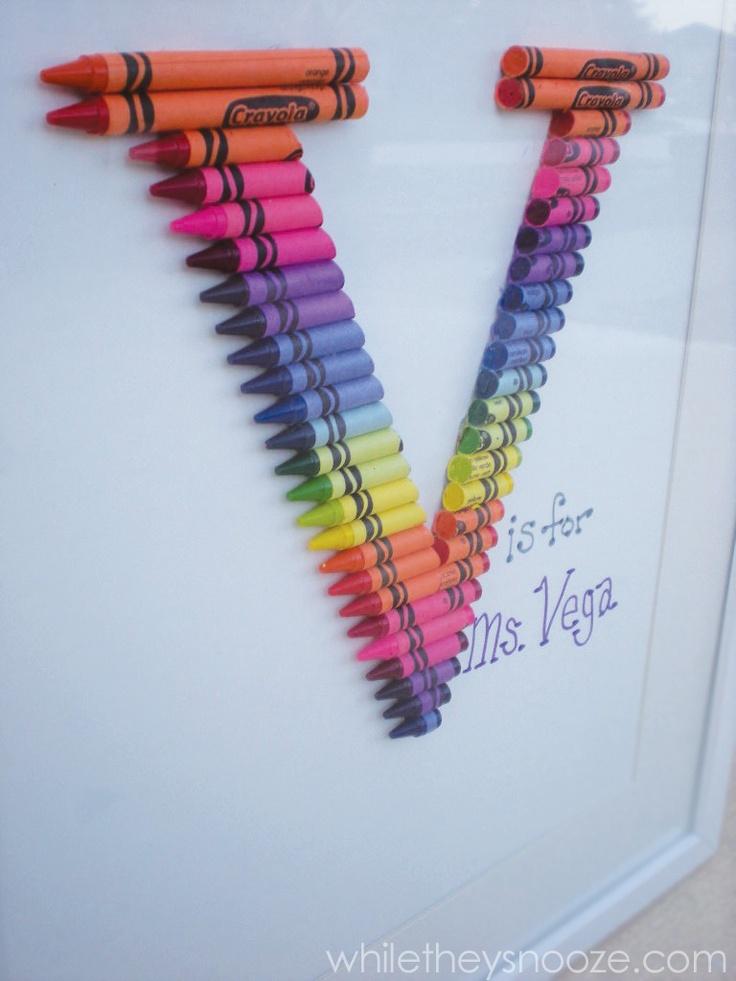 Crayon Monogram. #crafts #teacher @Shandyn McAbee