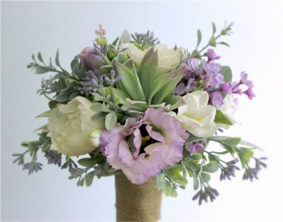 """""""Springtime"""" Silk Flower Bridal Bouquet and Groom's Boutonniere in Lavender, Ivory, and Light Green, featuring Camellias, Lilacs, Freesia, Succulent Aloe, Eucalyptus wrapped in Natural Burlap"""