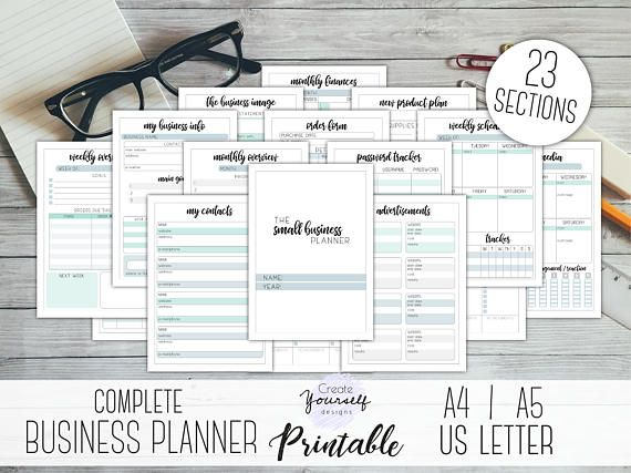 Printable Small business planner - 23 pages. * 22 planner pages & 1 cover page * with... --> monthly overview and schedule for planning tasks and goals --> weekly overview and schedule for planning marketing and to-do lists --> social media activity planner page --> new product