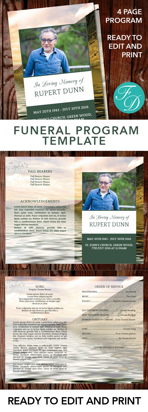 Lake Printable Funeral program ready to edit & print. Simply purchase your funeral templates, download, edit with Microsoft Word and print. #obituarytemplate #memorialprogram #funeralprograms #funeraltemplate #printableprogram #celebrationoflife