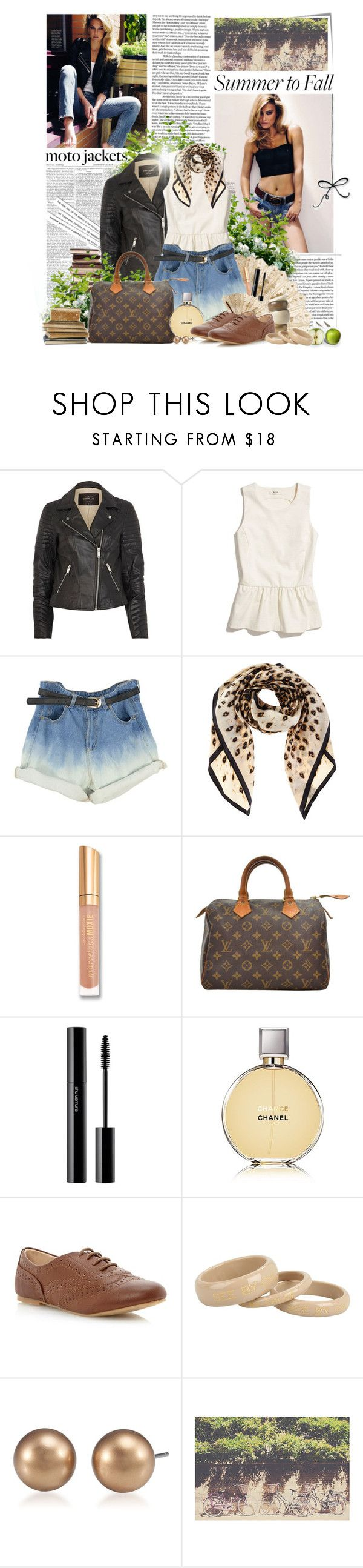"""Summer to Fall: Moto Jackets"" by neny-6 ❤ liked on Polyvore featuring Post-It, River Island, Madewell, Oasis, Bare Escentuals, Louis Vuitton, House of Fraser, shu uemura, Chanel and Head Over Heels by Dune"