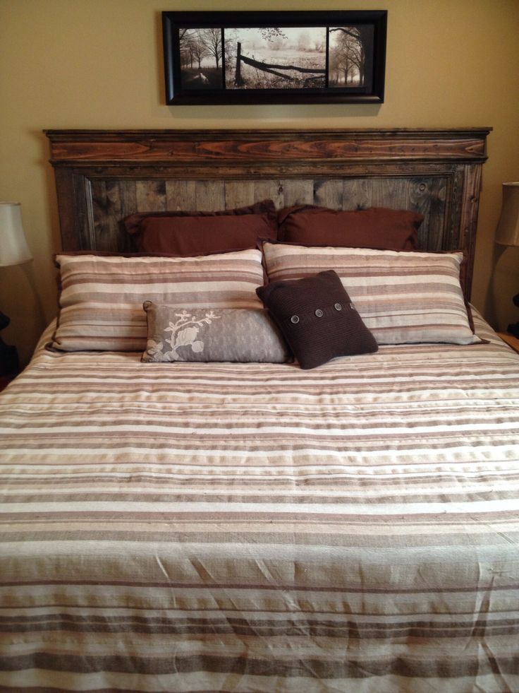 The 25 best rustic headboards ideas on pinterest rustic for Rustic headboard with lights