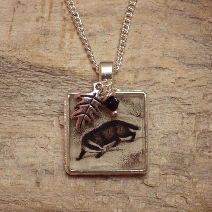 Badger Picture Pendant - Silver Badger Jewelry - Forest Animal Necklace - Wiccan Jewelry - Black Swarovski Crystal by TheSecretCharm on Etsy https://www.etsy.com/listing/247162648/badger-picture-pendant-silver-badger