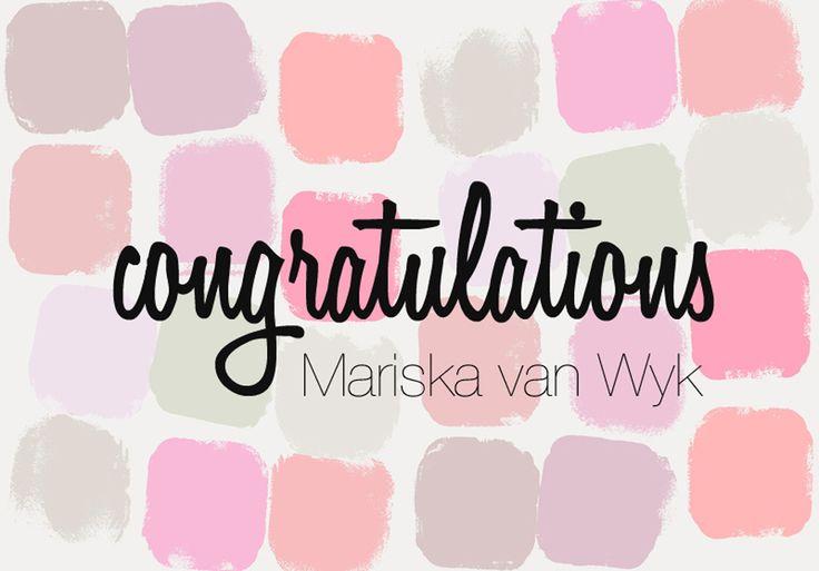 And our winner is Marika van Wyk!