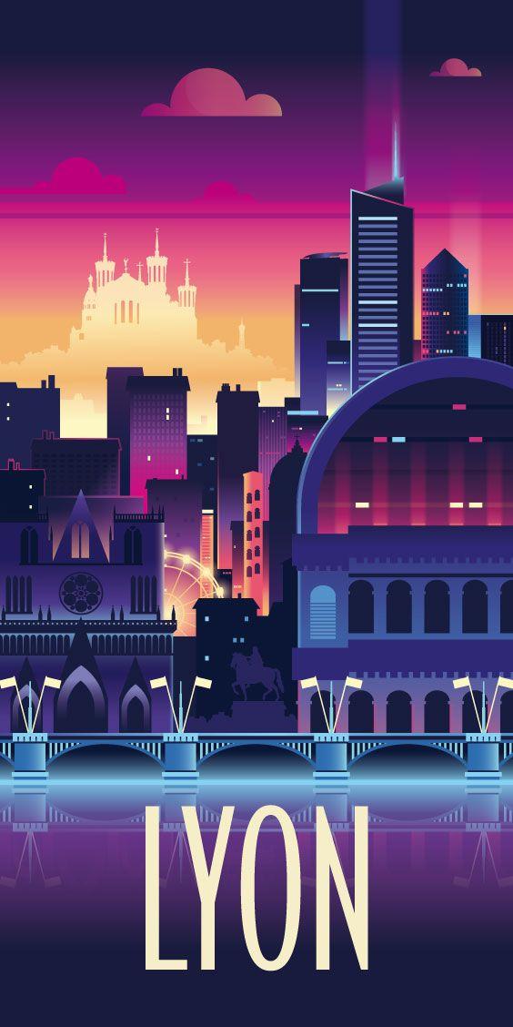 KAKÉMONODÉCO - Illustration géométrique de la ville de Lyon. Esprit Fête des lumières - Décor mural