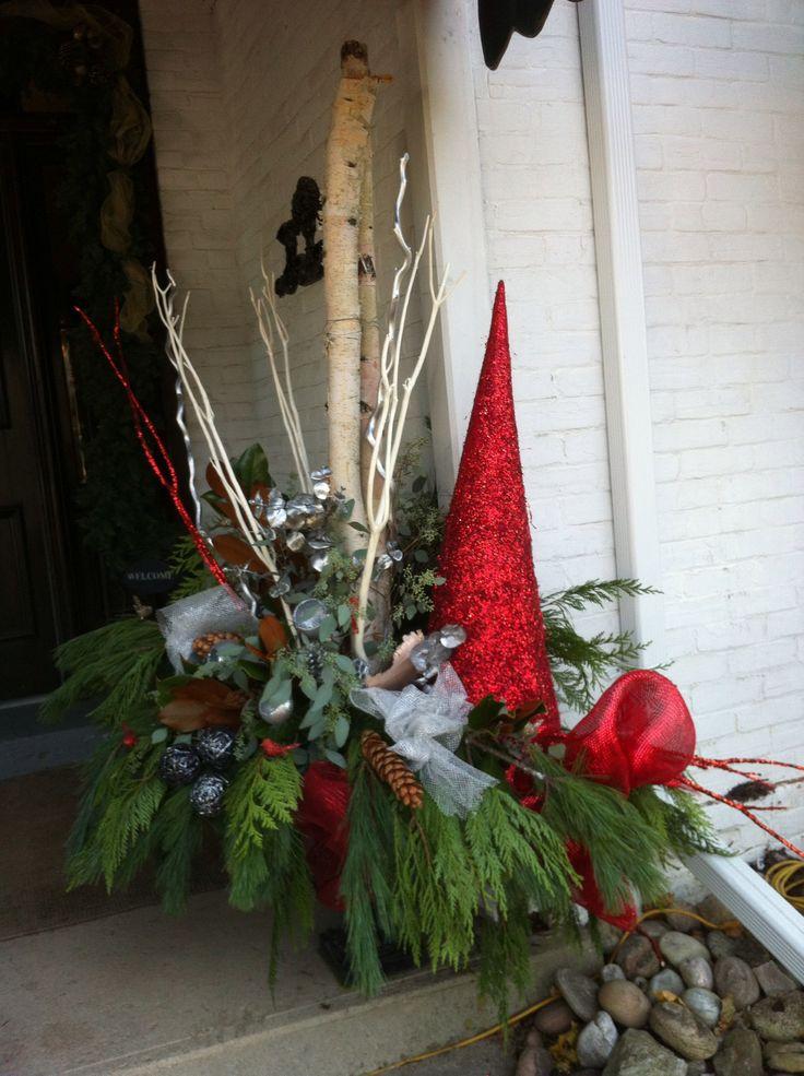 Christmas urn decor at the spa romantic garden theme