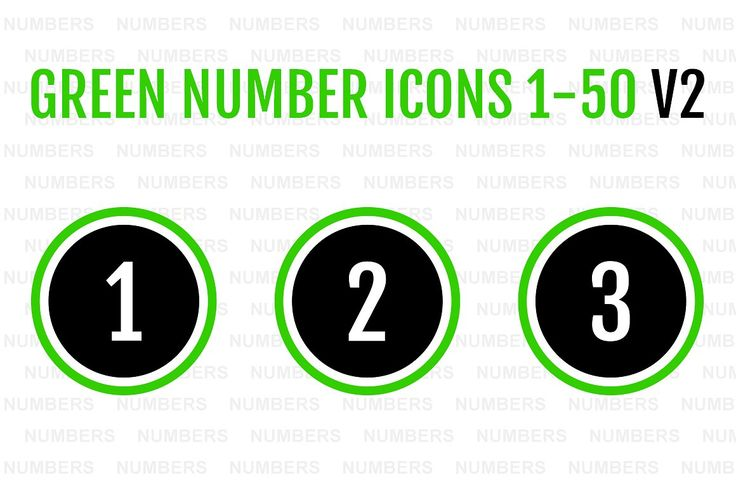 Green Number Icons 1-50 v2 by Alfredoh on @creativemarket