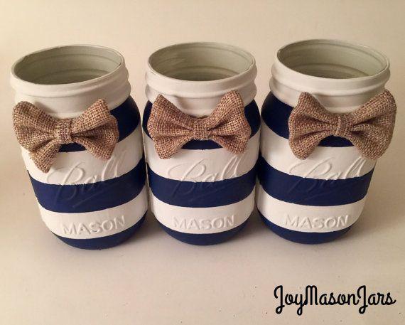 Set of 3 Nautical baby shower mason jars baby by JoyMasonJars