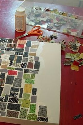 Fabric Mosaic on Canvas - how awesome of an idea is this?! When you have tiny random chunks of fabric that you still love, why part with them at all? SMART.