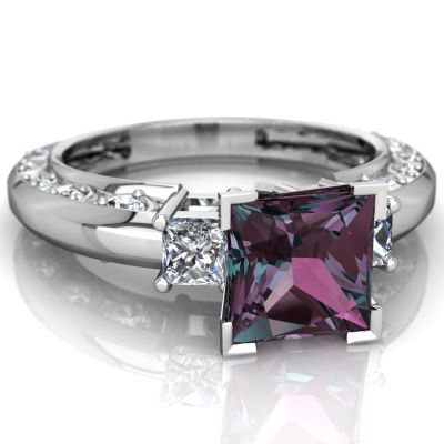 Lab Alexandrite Art Deco 14K White Gold ring R2001 - front view