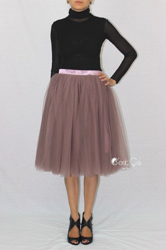 Beautiful semi-puffy purple gray tulle skirt made of of fine soft tulle and premium silky soft satin lining.  - 4 layers of premium soft tulle - Below knee / tea length 26 - Premium satin lining - Stretchy or non-stretchy waistband with zipper  Colette skirt in Turquoise Blue: https://www.etsy.com/listing/234867208/colette-turquoise-tulle-skirt-baby-blue  Colette skirt in Serenity Blue: coming soon  Colette skirt in Teal…