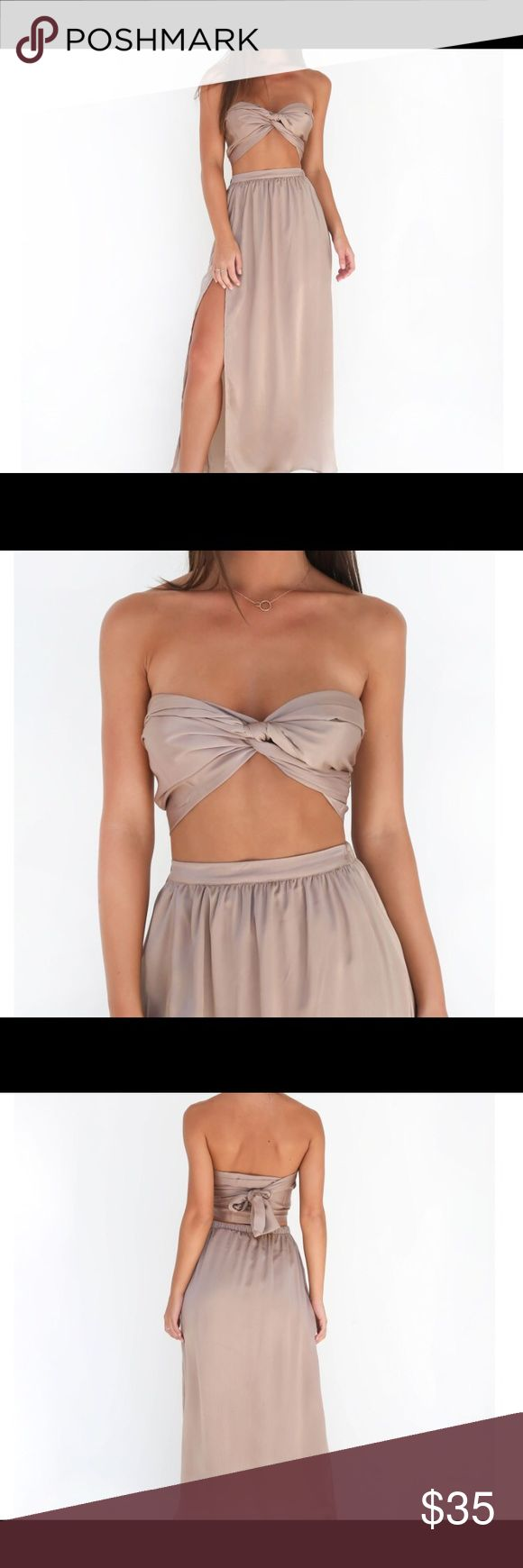 Silky Two Piece Set Beautiful, silky beige Two Piece Set. Never worn Dresses Strapless