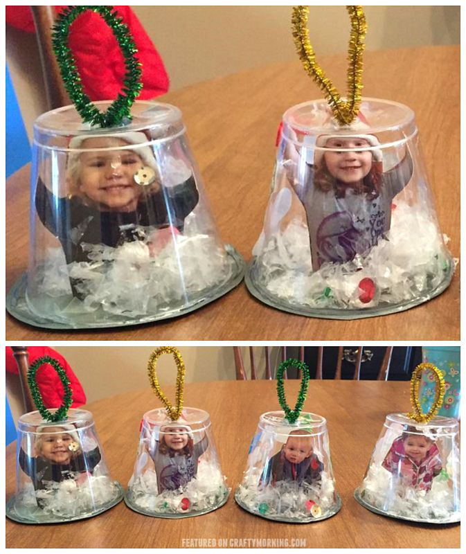Snow globe cup ornaments to make for Christmas crafts and gifts!