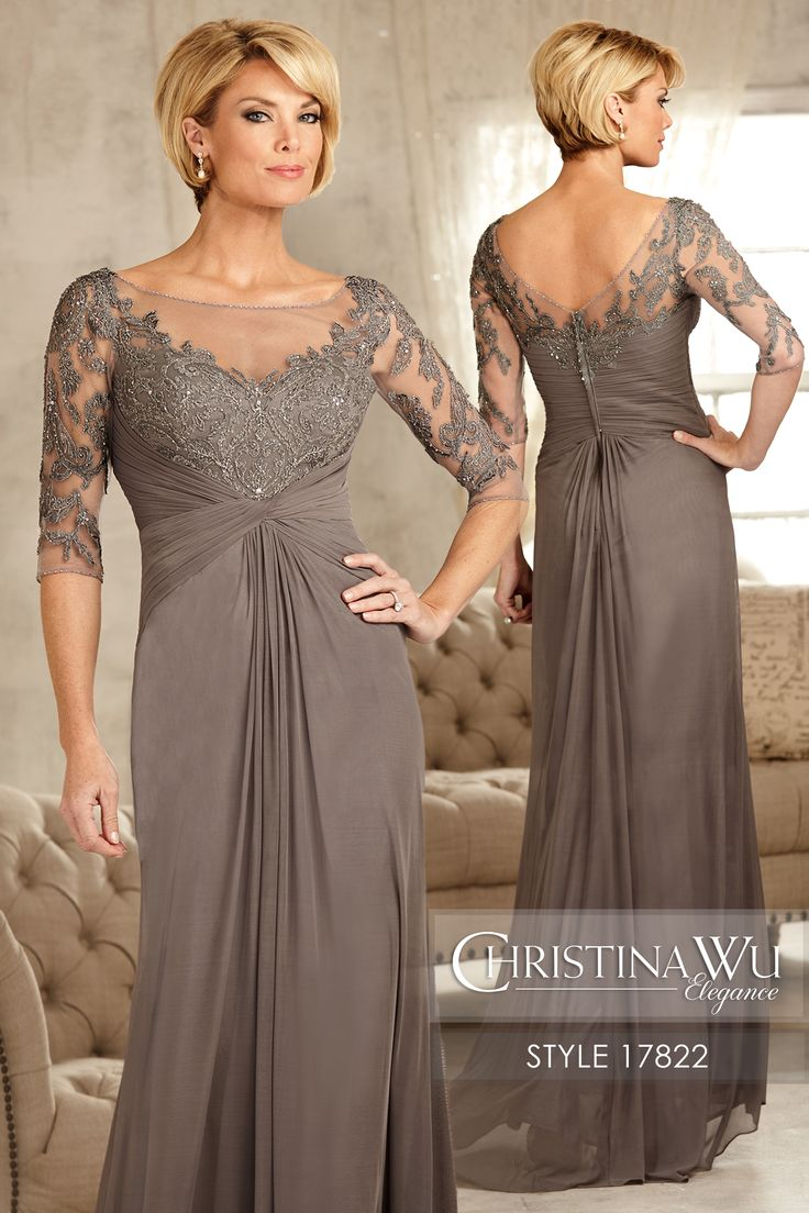 #ChristinaWuElegance Style 17822 Sheer illusion bodice, V-back, and short sleeves are detailed with embroidered sequined lace. The semi-A line skirt has a gathered center front and back with a pleated waist. MATERIAL Stretch Mesh & Lace SILHOUETTE Semi A-Line NECKLINE Bateau COLOR Charcoal, Aubergine, Navy