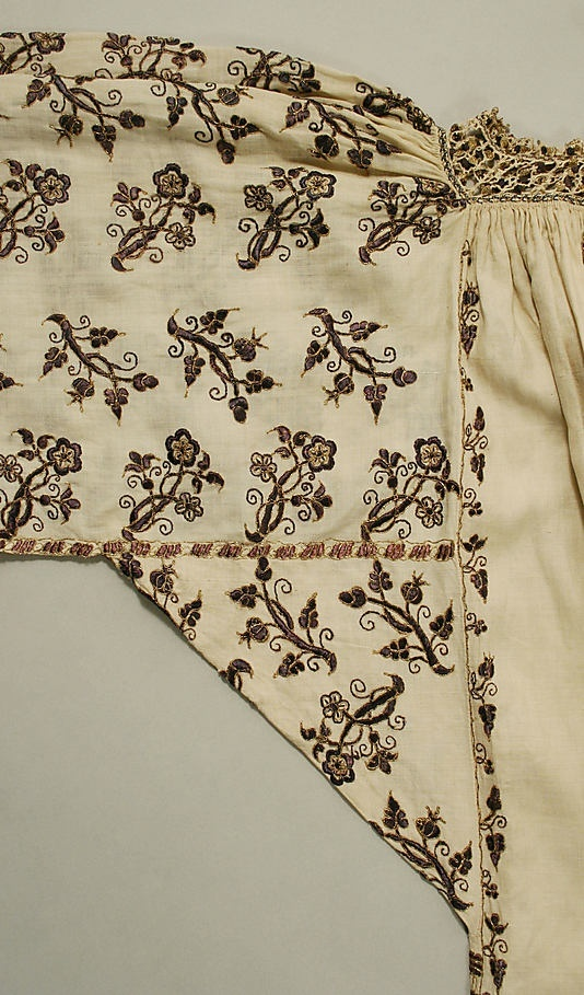 Excellent example of Italian embroidery in silk and metal thread for this linen smock, late 16th century. This would transform any contemporary wardrobe, would it not? @Karen Bitterman Museum of Art