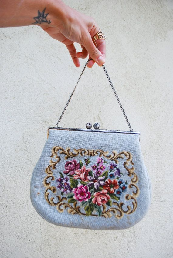 Vintage 50s 60s Floral Needlepoint Purse on Etsy, $32.00
