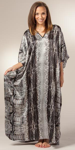 Womens Satin Winlar Kaftans - Satin Charmeuse Long Kaftan One Size - Grey Congo