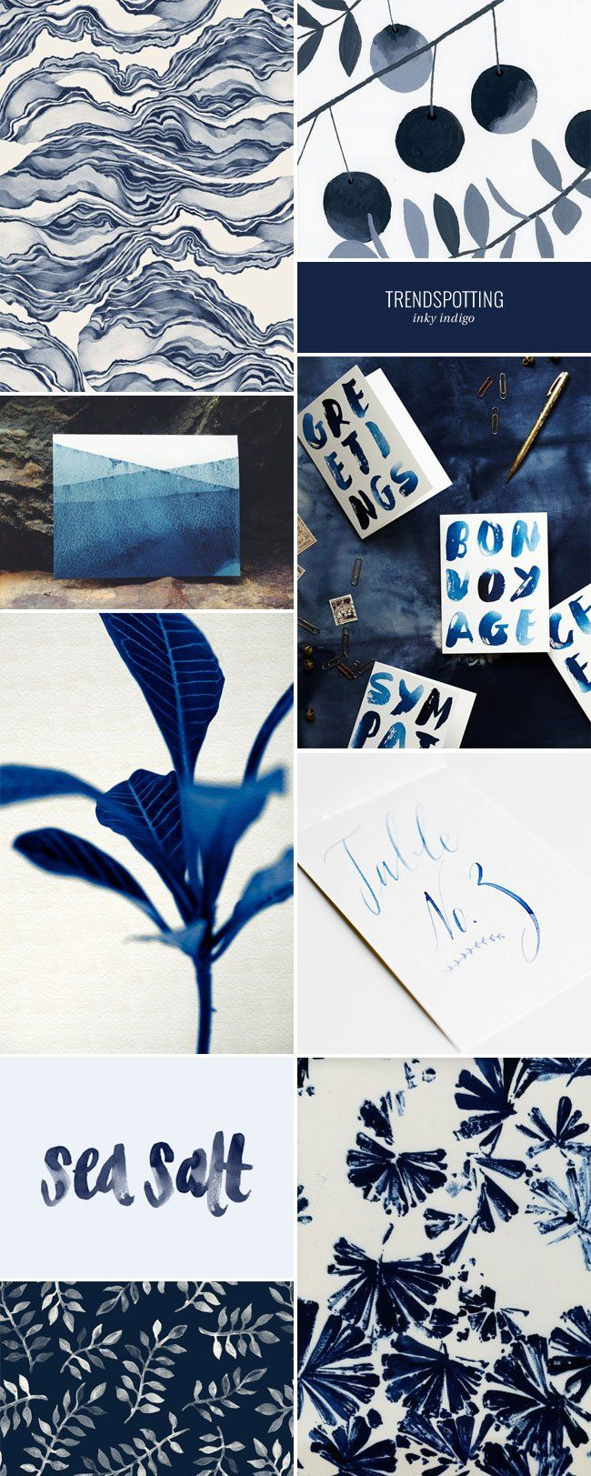 2015 Color Trends in Stationery : Inky Indigo Background letters