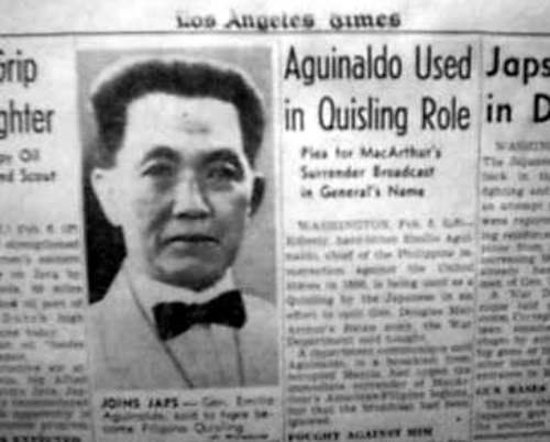 The Los Angeles Times, issue of Feb. 7, 1942, reports on Aguinaldo's alleged collaboration with the Japanese. Source: Philippine-American War, 1899-1902 by Arnaldo Dumindin.