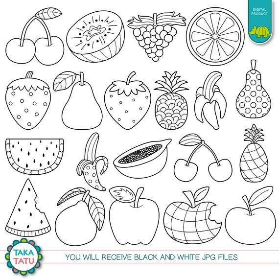 Fruits Digital Stamp Pack Black And White Clipart Fruits Clipart Healthy Food Clipart Watermelon Apple Strawberry Pineapple Fruits Drawing Digital Stamps Fruit Clipart