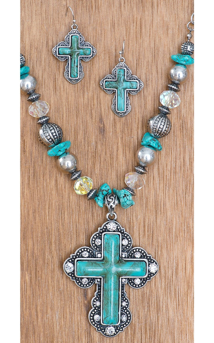 Catillac Style® Silver w/ Turquoise Center Cross Jewelry Set | Cavender's Boot City